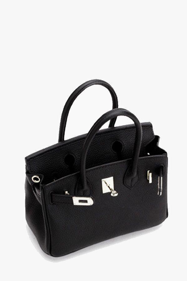 Black Genuine Leather Mini Locker Tote Bag