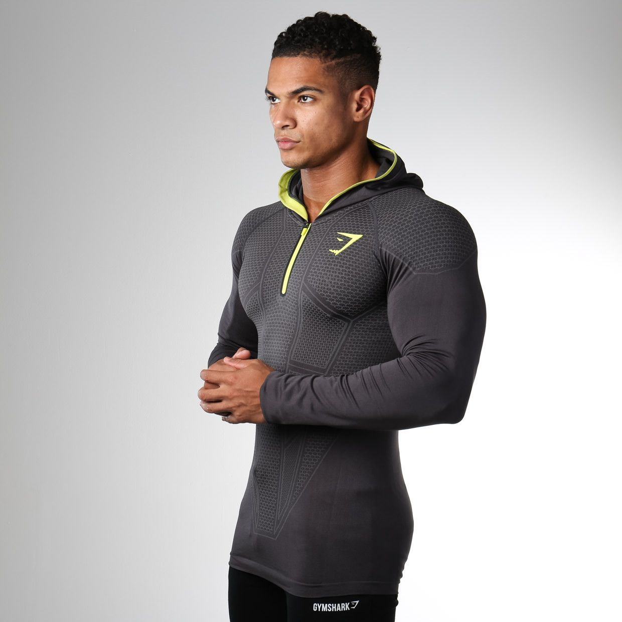 Gymshark onyx seamless hooded top charcoal garage gym
