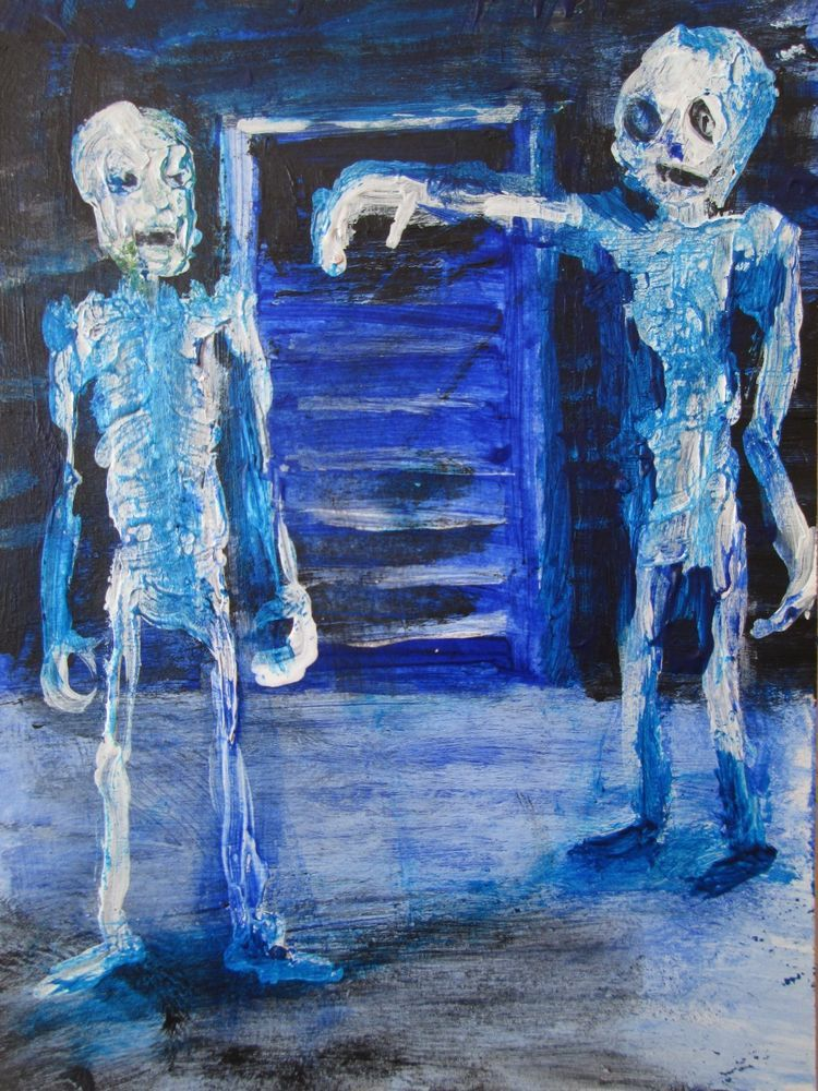 """Zombie Art Card  ,outsider art, original painting,ACEO  jack larson 3.5""""x2.5""""  #Abstract"""
