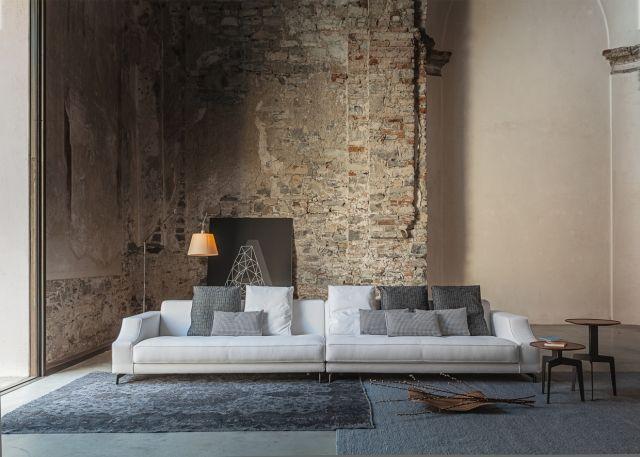 rustikale wand-wohnzimmer sofa-set moderne-einrichtung ideen tipps ... - Modernes Wohnzimmer Tipps