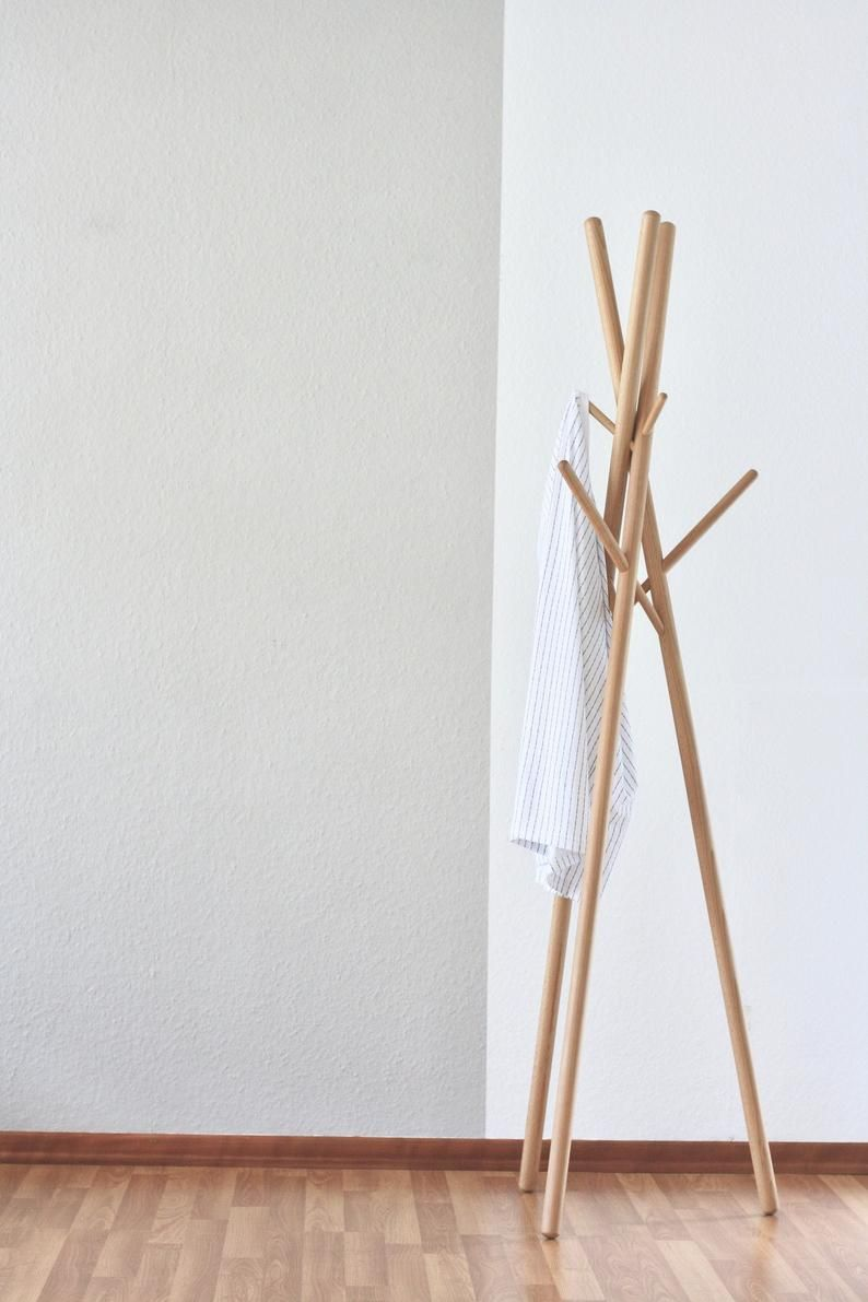 Anaan 9 Design Coat Stand Wood Clothes Rack Free Standing Tree With 9 Hanging Hooks Modern Stable No Screw 174x51x51cm In 2020 Coat Stands Wood Solid Wood