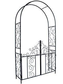 1 Go Steel Garden Arch With Gate 7 5 High X 4 2 Wide Garden