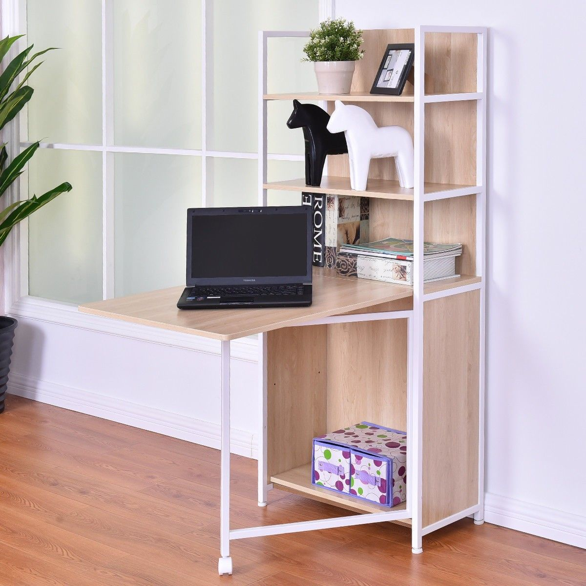 2 In 1 Foldable Convertible Desk With Cabinet And Bookshelf