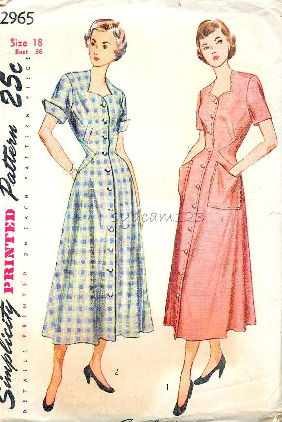 Vintage 1940s Robe or Housedress Pattern Button Front Sweetheart ...
