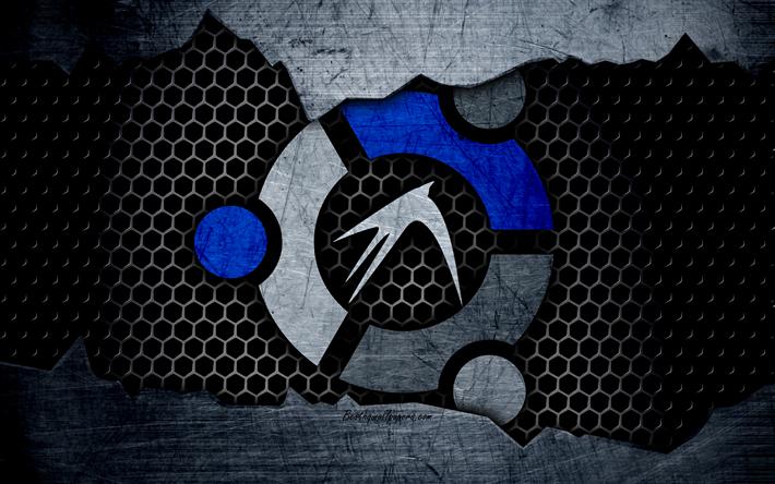Download wallpapers Lubuntu, Linux, 4k, logo, metal background