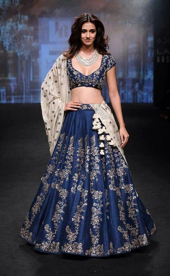 Short Blue Top With Long Skirt Can See After Party Indian Wedding Lehenga Lakme Fashion Week 2017 Bridal Lehenga Choli