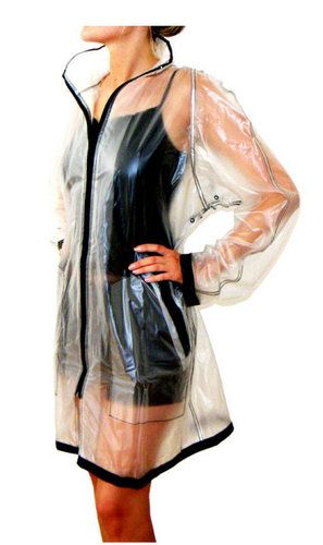 b0d8756ab93 Semitransparent Woman Sexy Rain Coat Jacket PVC 14 M   L