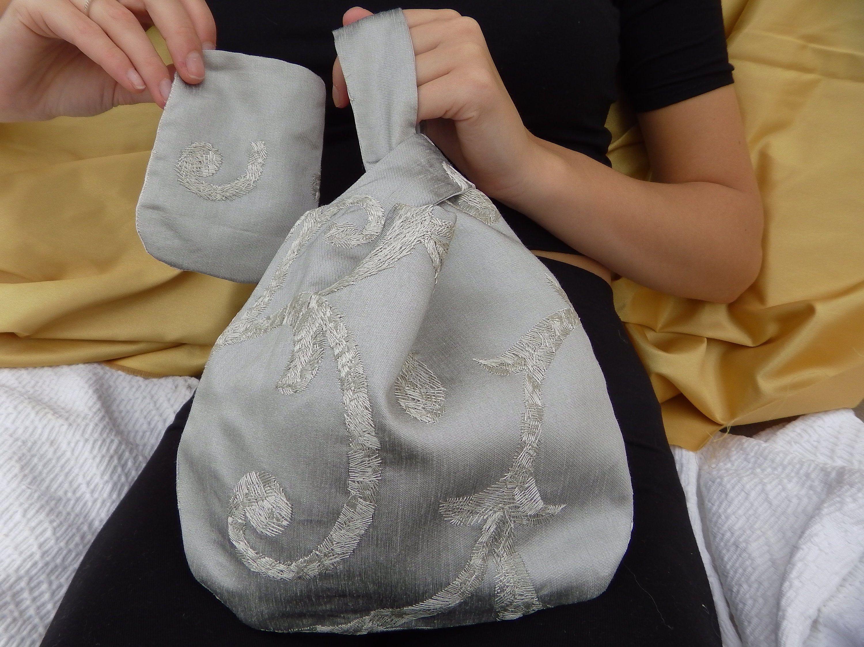 Crushed velvet Japanese Knot Bag purse handmade wrist bag