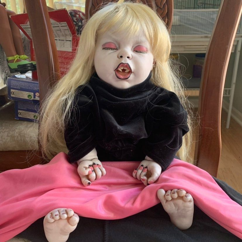 Reborn Gothic Vampire Baby art Doll. Condition is Used but