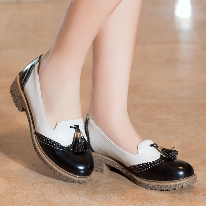 a5b9e795318 Barato Mulheres apartamentos sapatos Oxford Brogues Retro borla bonito  colégio britânico