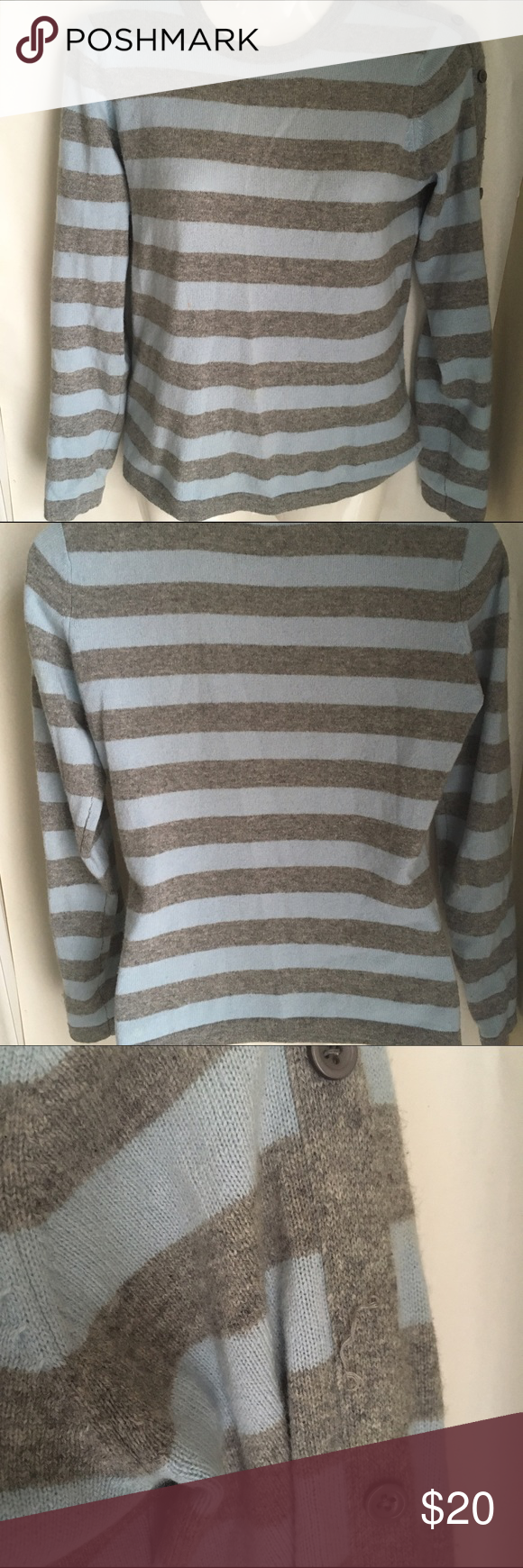 100% cashmere top History S blue gray stripe Design History 100 ...