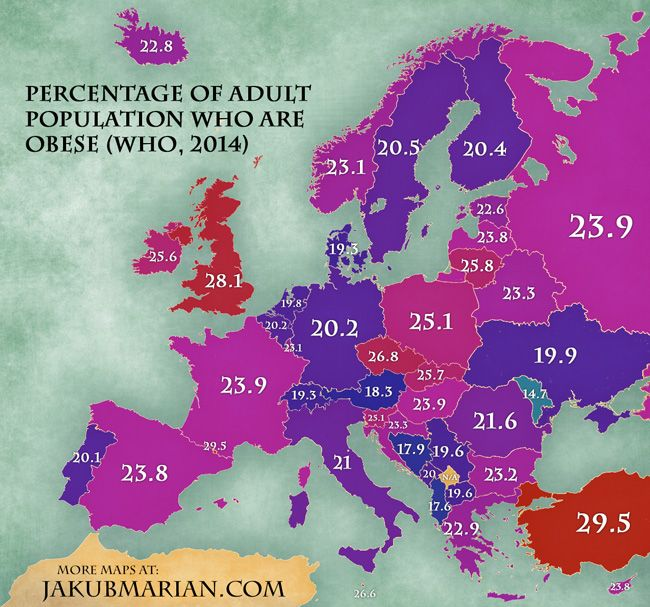 Percentage of Obese People in Europe – Turkey on a Map of Europe