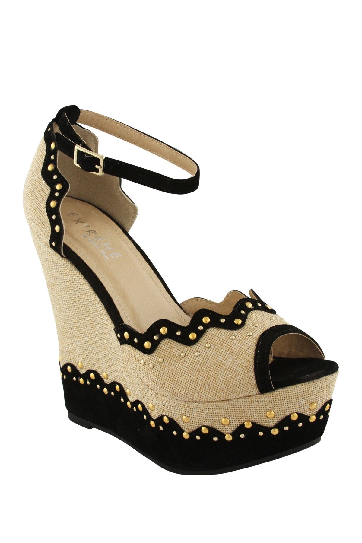 120a138b626 EXTREME By Eddie Marc Bonnie Canvas Studded Wedge on HauteLook ...