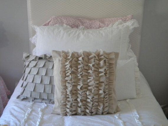 Best 16X16 Osnaburg Pillow Cover With Ruffles By 400 x 300