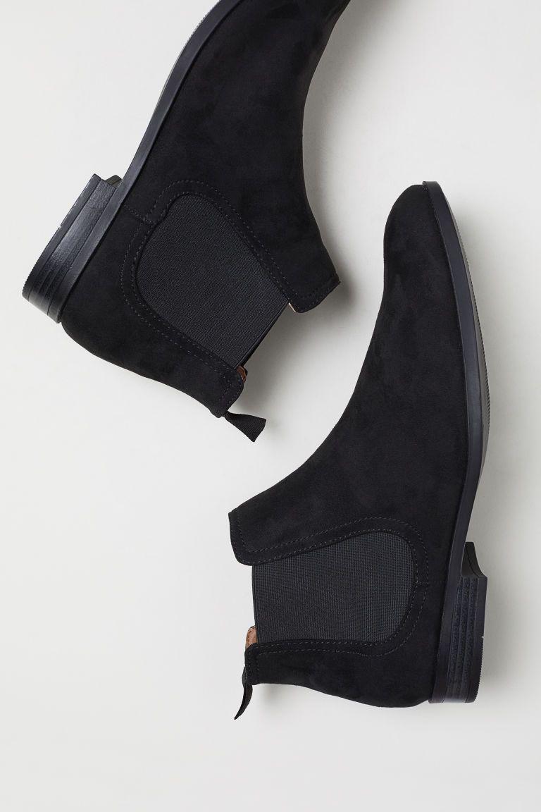 Chelsea-style Boots - Black/faux suede