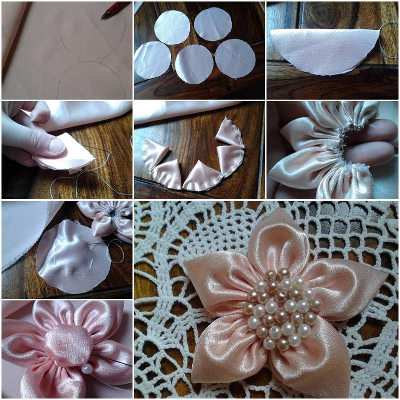 How to Make Golden Sakura Ribbon Flowers step by step DIY ... |How To Make Handmade Flowers From Ribbon Step By Step
