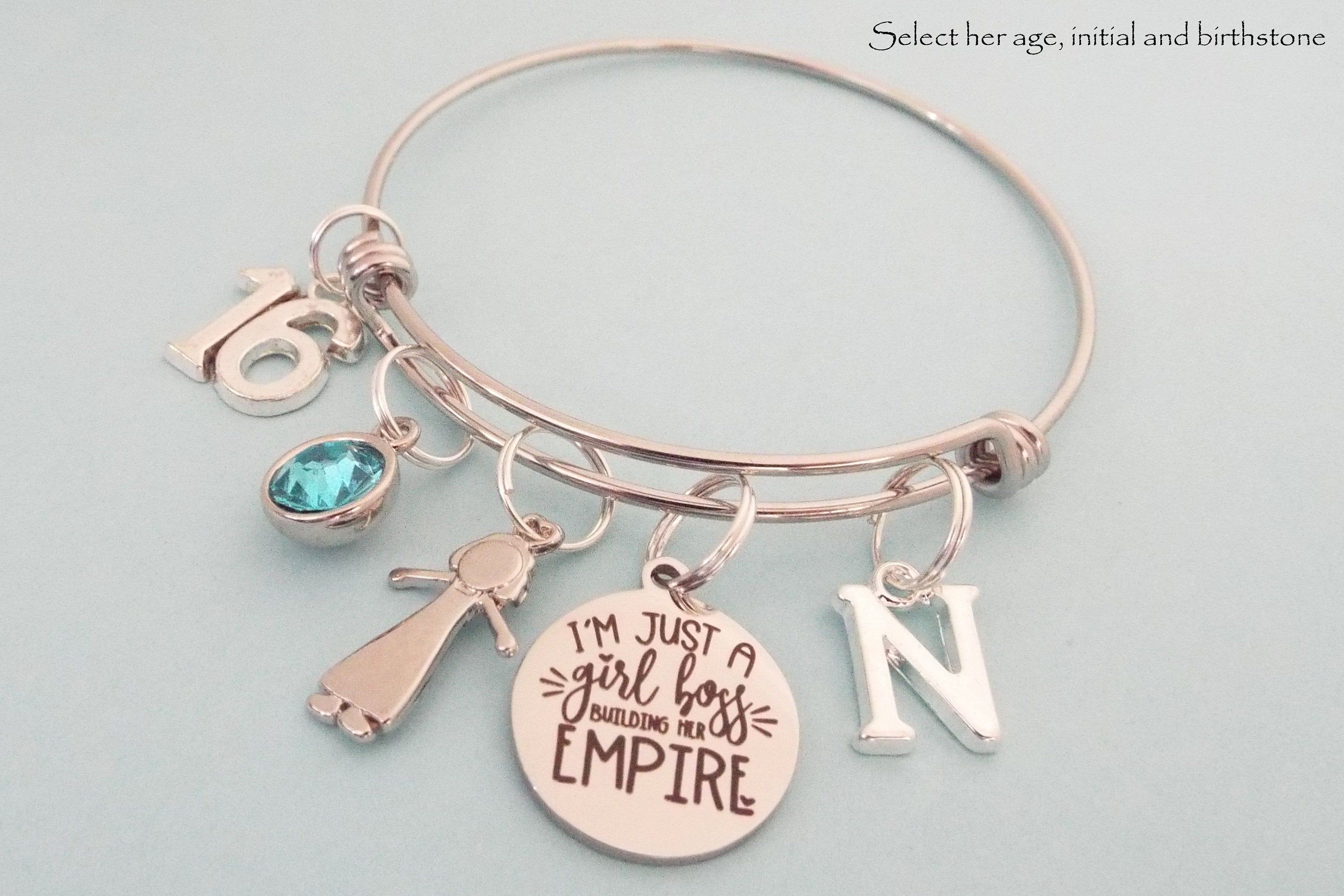 Silver Sweet 16 Jewelry Gifts for Girls Personalized Birthstone /& Initial Sweet 16 Bracelet