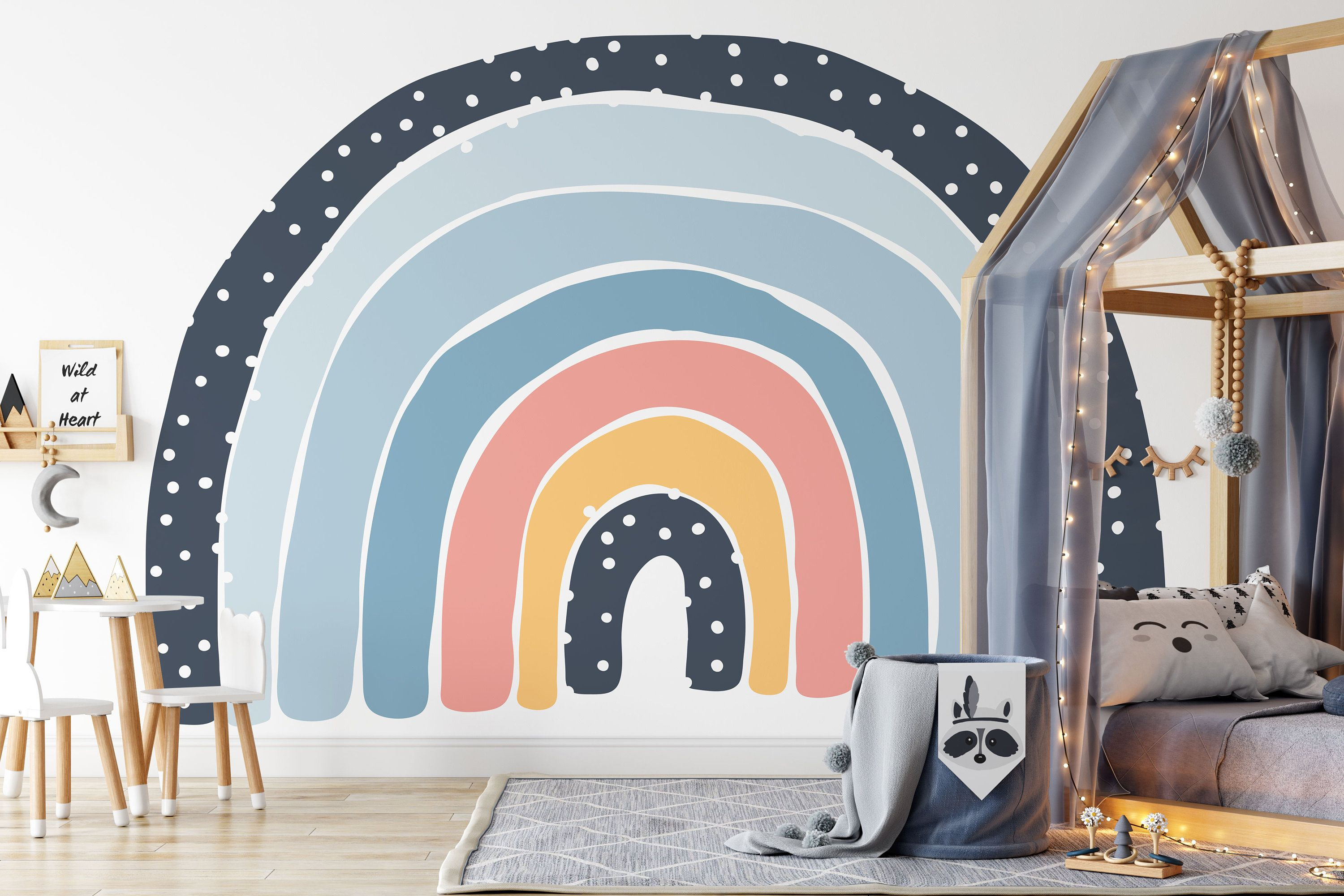 Photo of Let's Chase Rainbows Wall Mural, Seven Colours of the Rainbow Wallpaper, Rainbow in Blue Wallpaper, Boy's Nursery and room décor, Wall art