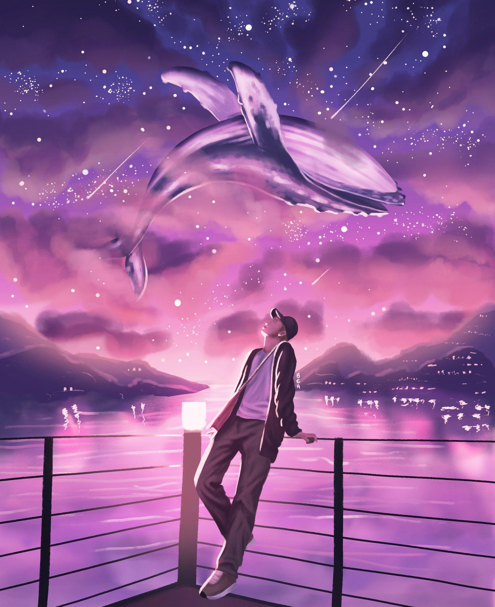 Bea On Twitter Bts Wallpaper Bts Fanart Bts Drawings Bts purple whale wallpaper