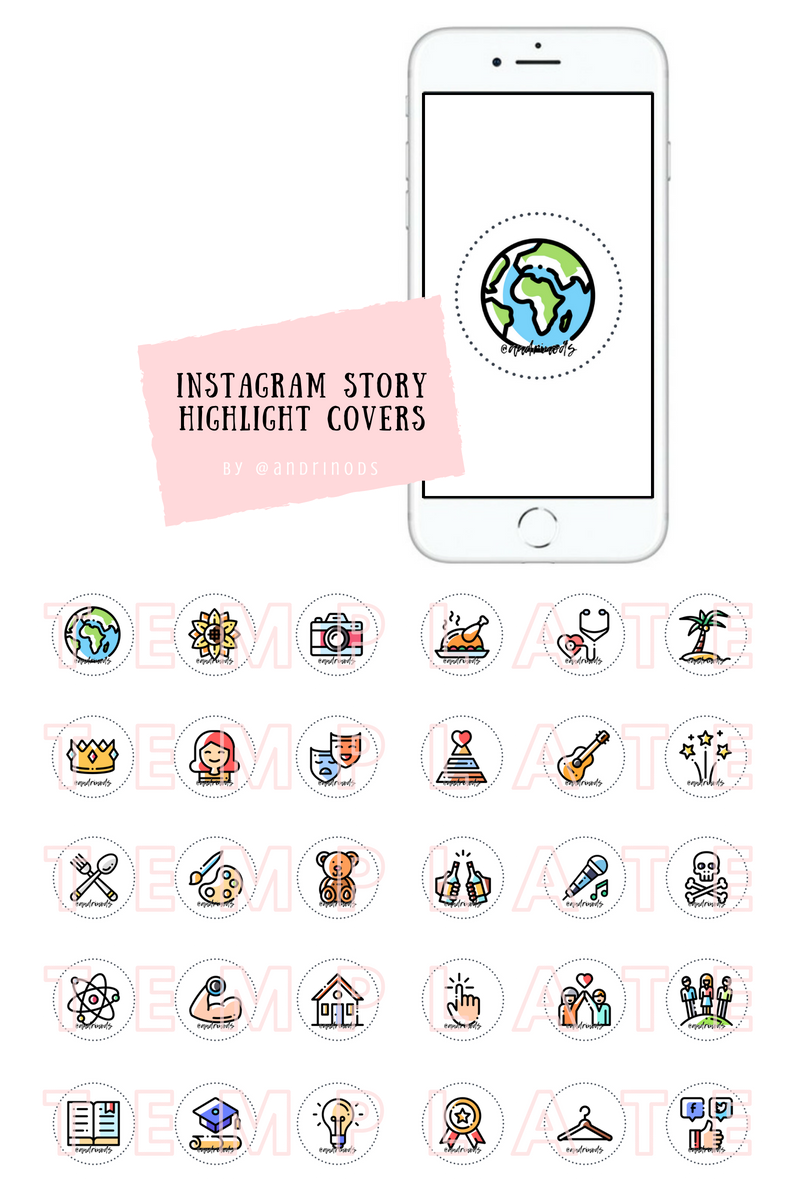 Instagram highlight covers Colored icons Instagram