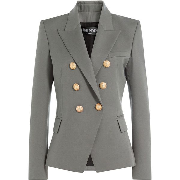 8c026f73 Balmain Wool Blazer found on Polyvore featuring outerwear, jackets, blazers,  grey, balmain blazer, blazer jacket, gray jacket, gray wool jacket and grey  ...