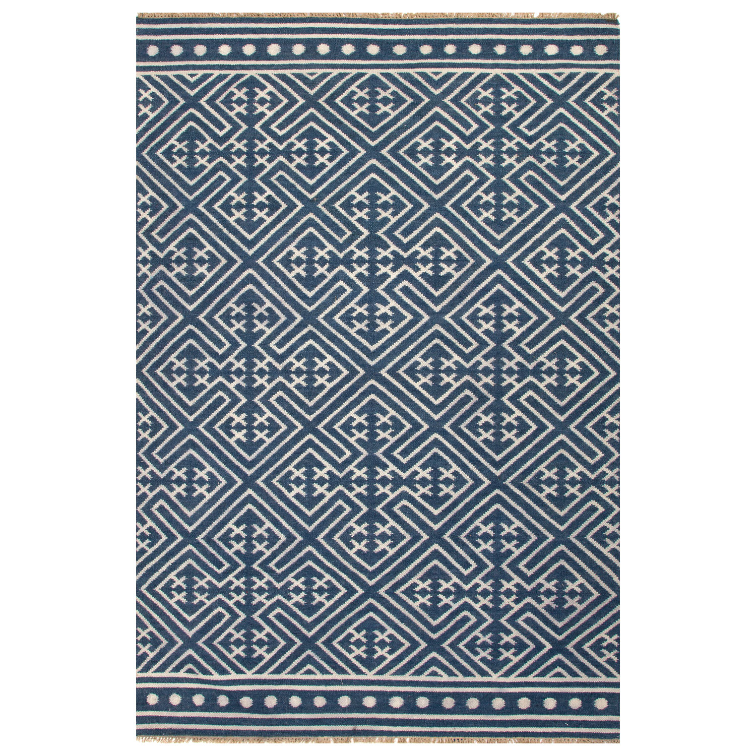 Drawing inspiration from the textiles of Southeast Asia, the Jaipur Batik Lahu rug infuses sophisticated spaces with eclectic appeal. The geometric patterning of this layer graphically grabs attention, perfectly accented with fringed edges. The color scheme maintains a classic feel, while the flat-woven wool fabrication provides sturdy softness. 2'W x 3'L. 5'W x 8'L. 8'W x 10'L. 9'W x 12'L. Dark Denim & Silver Green. Colors noted are Pantone TPX. 100% wool....