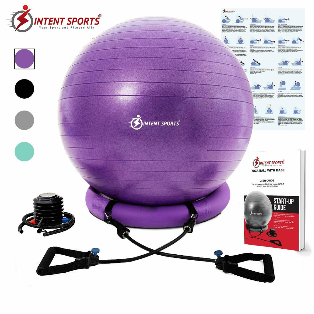 Details About Intent Sports Yoga Ball Chair Fitness Ball For Home Gym 65cm Ball Exercises Yoga Ball Gym Ball