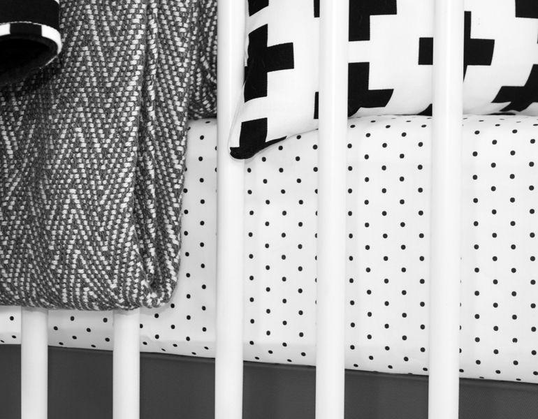 Black White Dot Crib Sheet By Www Olliandlime Com Black White