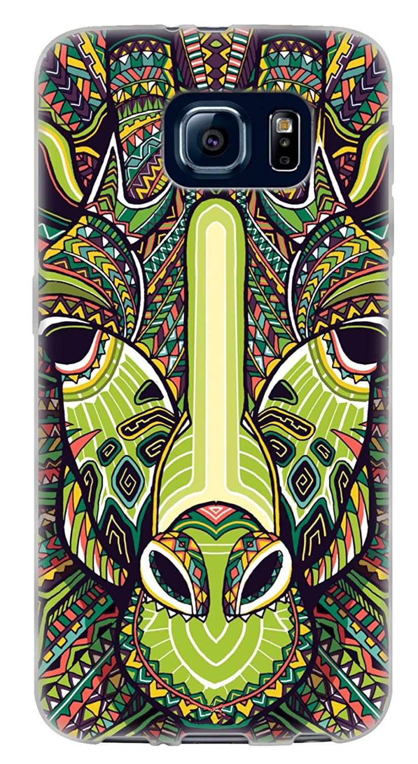 Amazon.com: {Aztec Animal Face Giraffe} Soft and Smooth Silicone Cute 3D Fitted Bumper Back Cover Gel Case for Samsung Galaxy S6 {Color is Green, Teal and Pink}: Cell Phones & Accessories