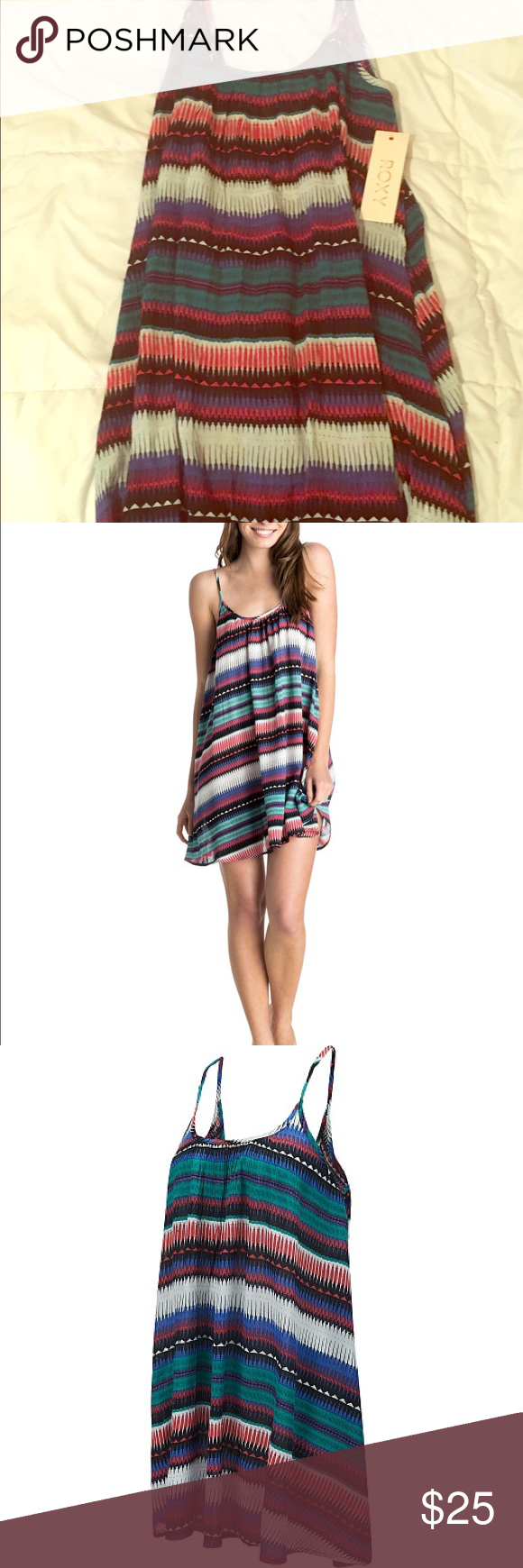 Roxy Sweet Vida Cover-up Dress With Low Back NEE/NEVER WORN Roxy women's breezy Sweet Vida printed dress is sure to brighten any warm day! The flowy design is complemented by thin straps, along with a scoop neckline and low back. Whether you wear it as a beach cover-up or for a stroll on the boardwalk, the sassy print is sure to pop! US Women's Size MEDIUM Roxy Swim Coverups
