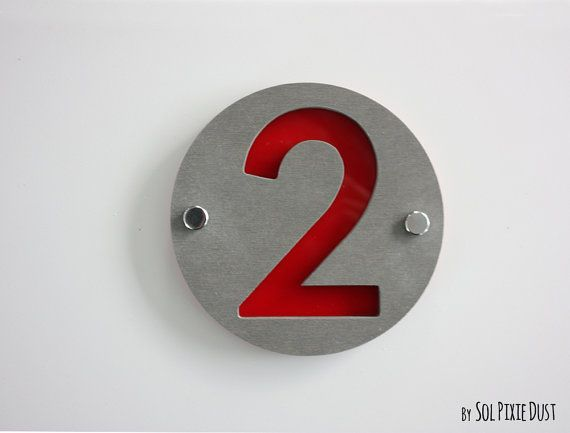 Modern House Numbers Round Concrete with Acrylic Sign Plaque Door Number