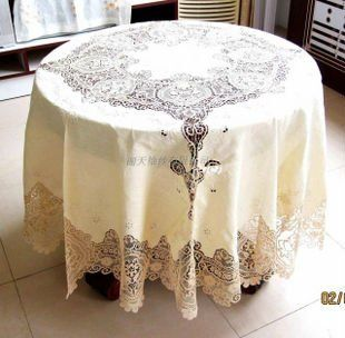 Vintage Italy Lace Handmade Linen 225cm Round Tablecloth Free