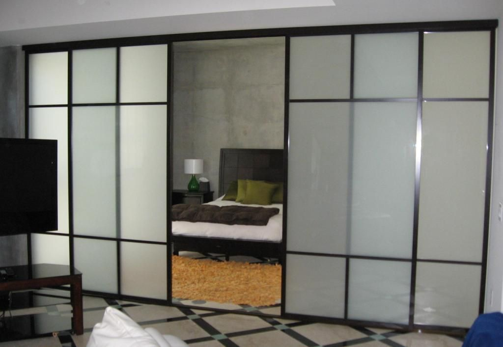 4 Panel Room Divider On A Double Track 1 12 Black Frames Frosted