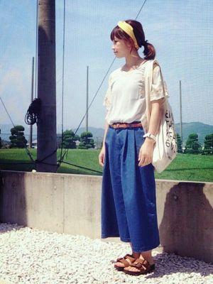 20a48e0abbee 20~30代女性の大人可愛いガウチョパンツの着こなしまとめ【夏コーデ ...