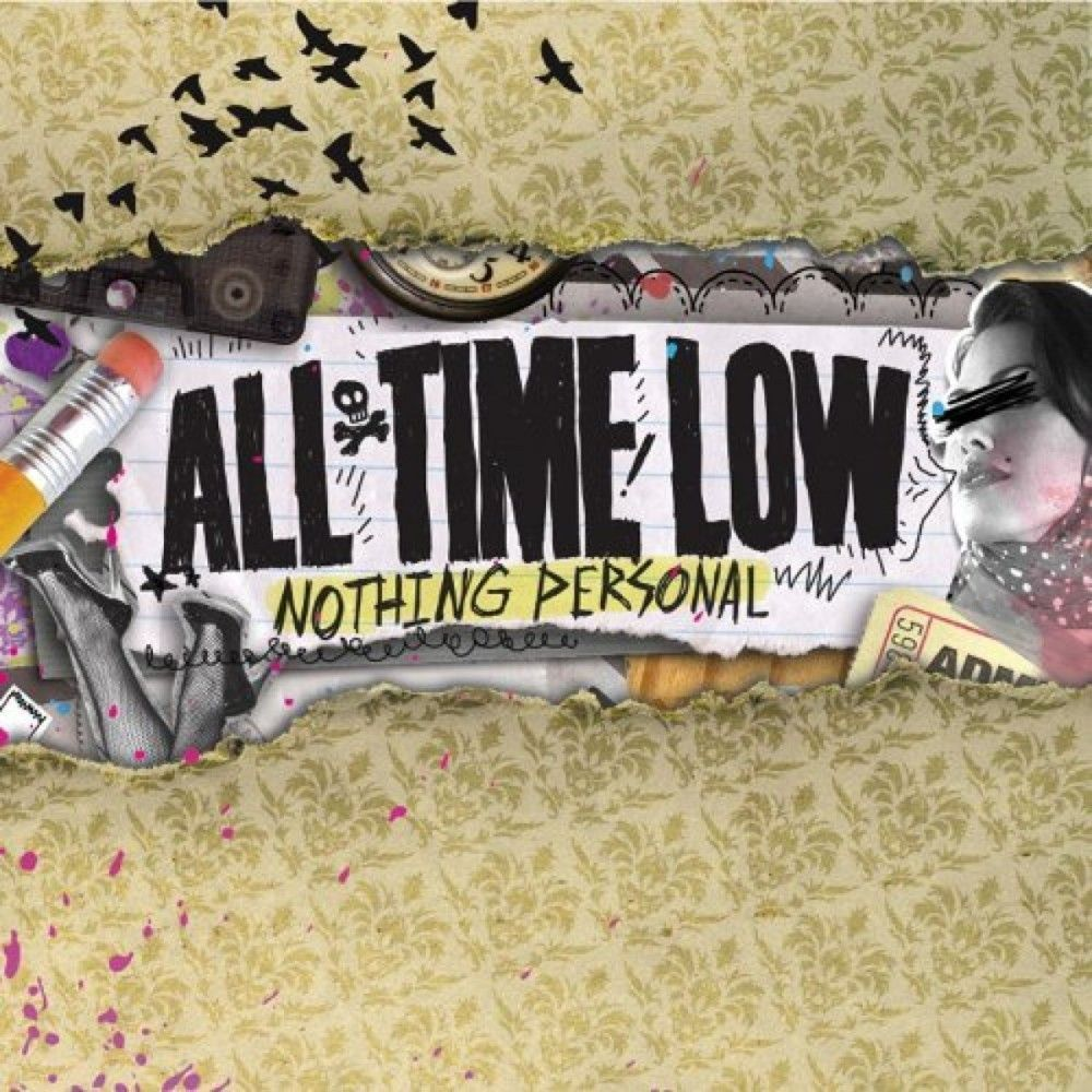 This is All Time Low's 3rd album Nothing Personal. In this album the songs are not only for party songs but also mixed with songs that are related to first love and betrayal. In the design there was a girl with her eyes covered, a pencil which maybe used for the writings, drawings and used to cross out the girl's eyes. The background is like a wallpaper with patterns on it. The interesting thing is that the birds are still in this design, just like in the previous album. #lowalbum This is All #lowalbum