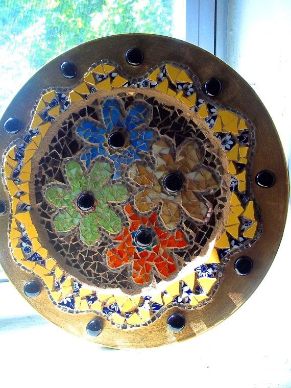 Etsy Mosaic Trivet Stained Glass Flower Power Tray Bohemian Hippie Decor Candle Holder Recycled Upcycled Pique Assiette #bestofEtsy #mosaics
