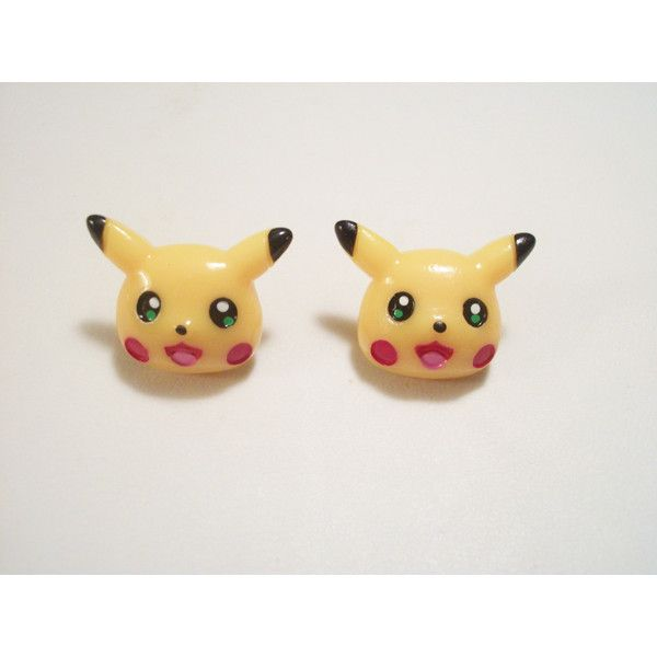 Handmade Pikachu Pokemon Gamer Post Earrings ($6.50) ❤ liked on Polyvore featuring jewelry, earrings, post back earrings and post earrings