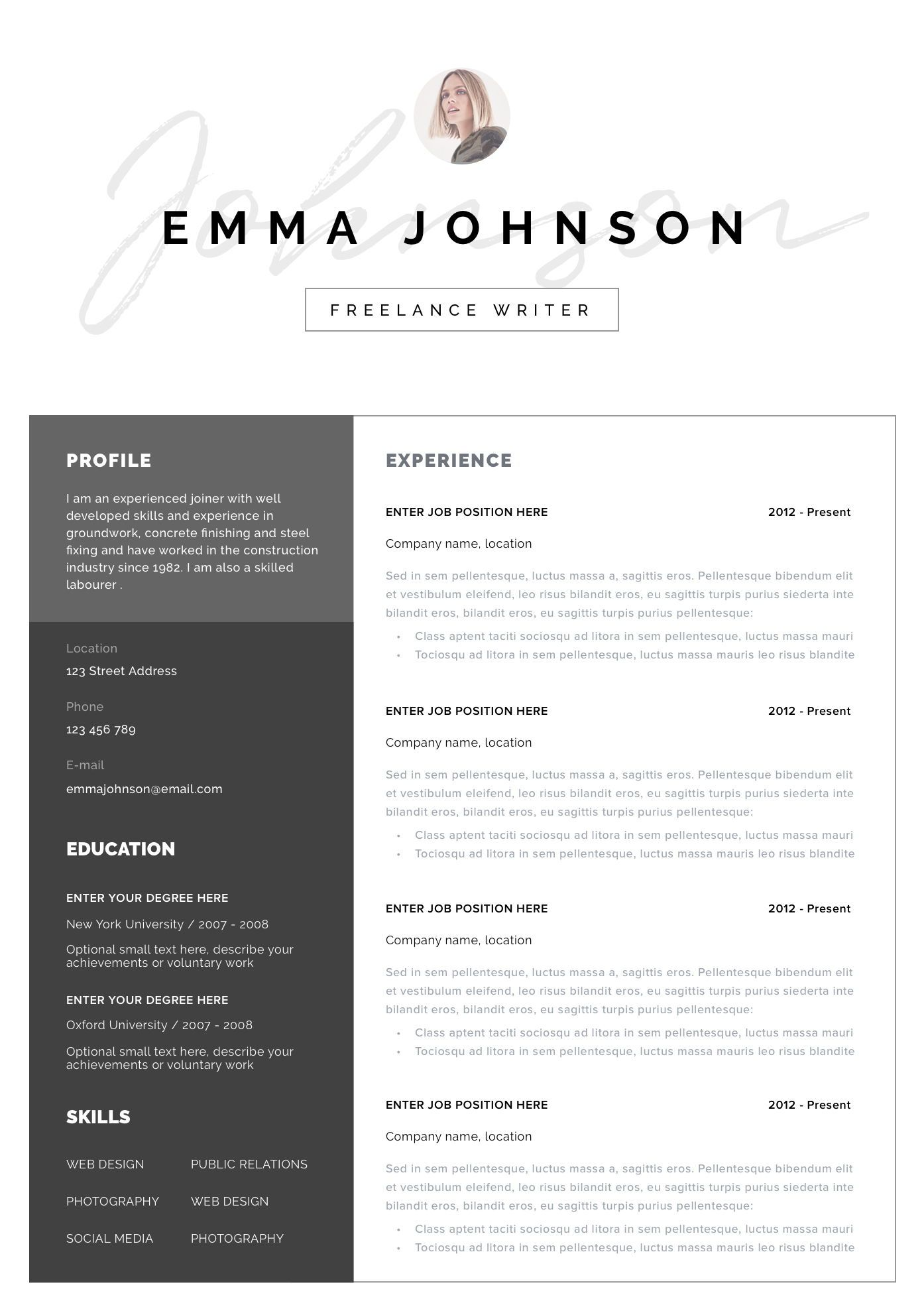 Modern Resume Template with photo Professional resume