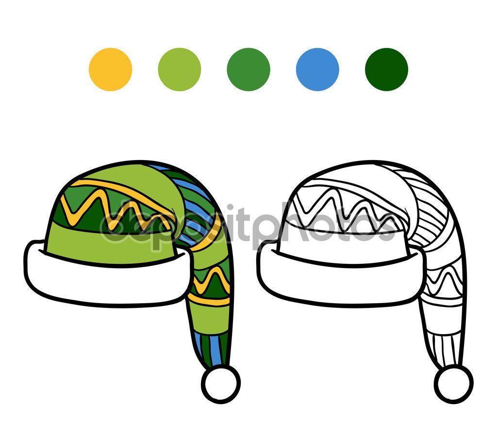 Раскраска для детей, вязаные зимние шляпы — стоковая ...
