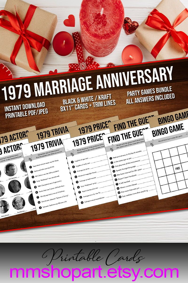 40th Anniversary Party Games Bundle, Married in 1979, 40th Wedding Anniversary Games Bundle, Golden  #20thanniversarywedding