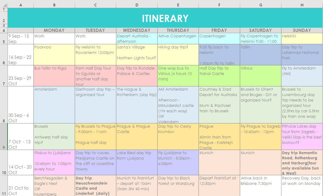 Travel Planning Excel Spreadsheets Itinerary Monthly Organizer By