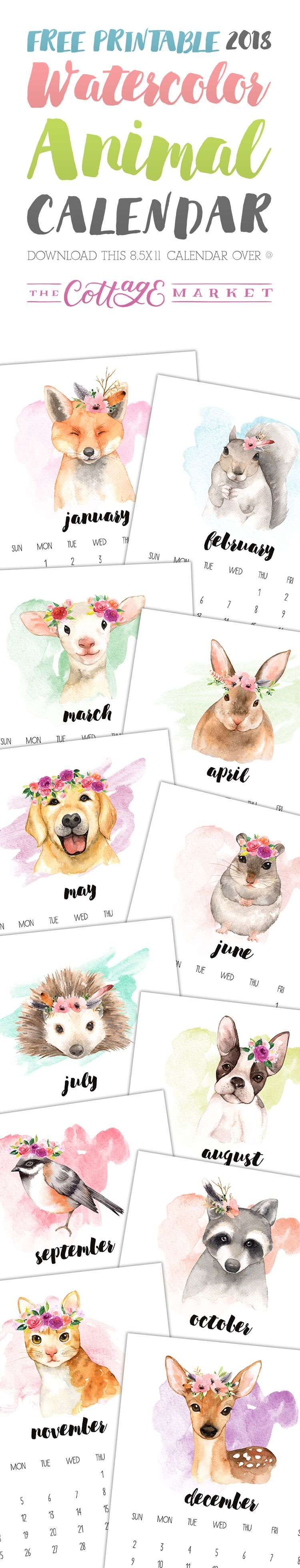 Free Printable 2018 Watercolor Animal Calendar - The Cottage Market