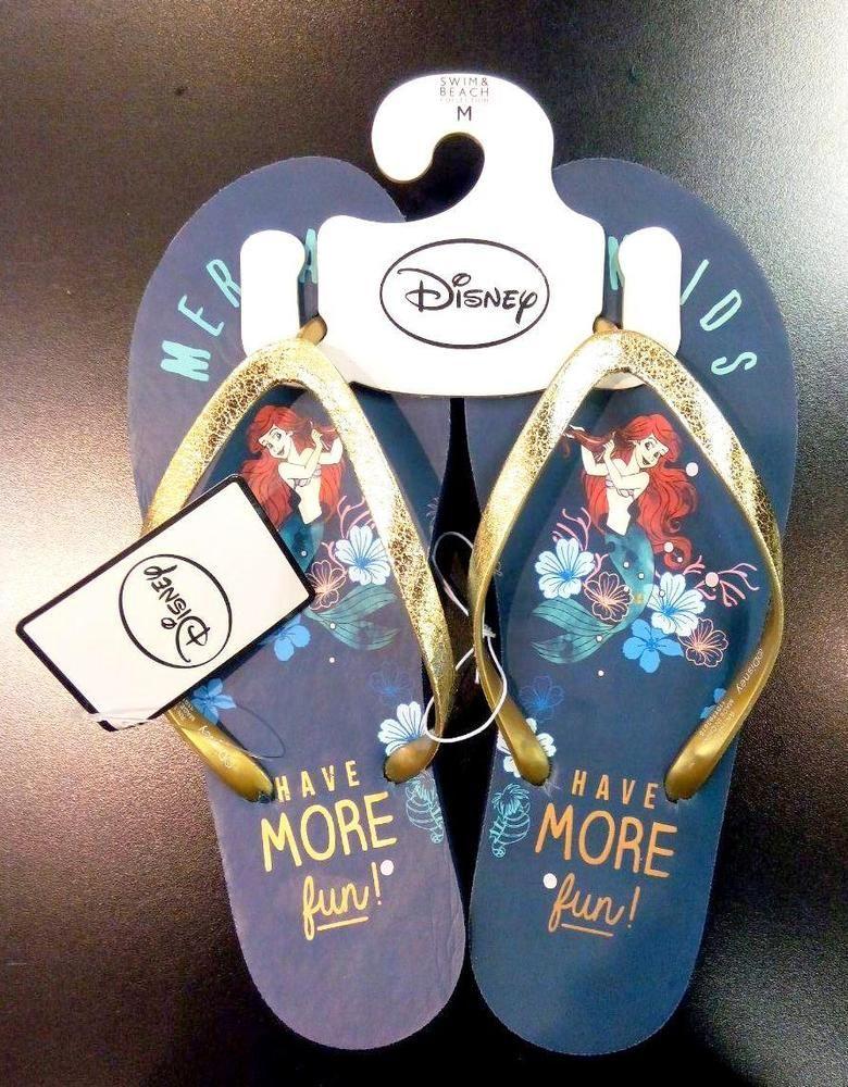 Disney Mermaid Girls Flip Flops Kids Blue Slippers Beach Pool Summer Primark NEW