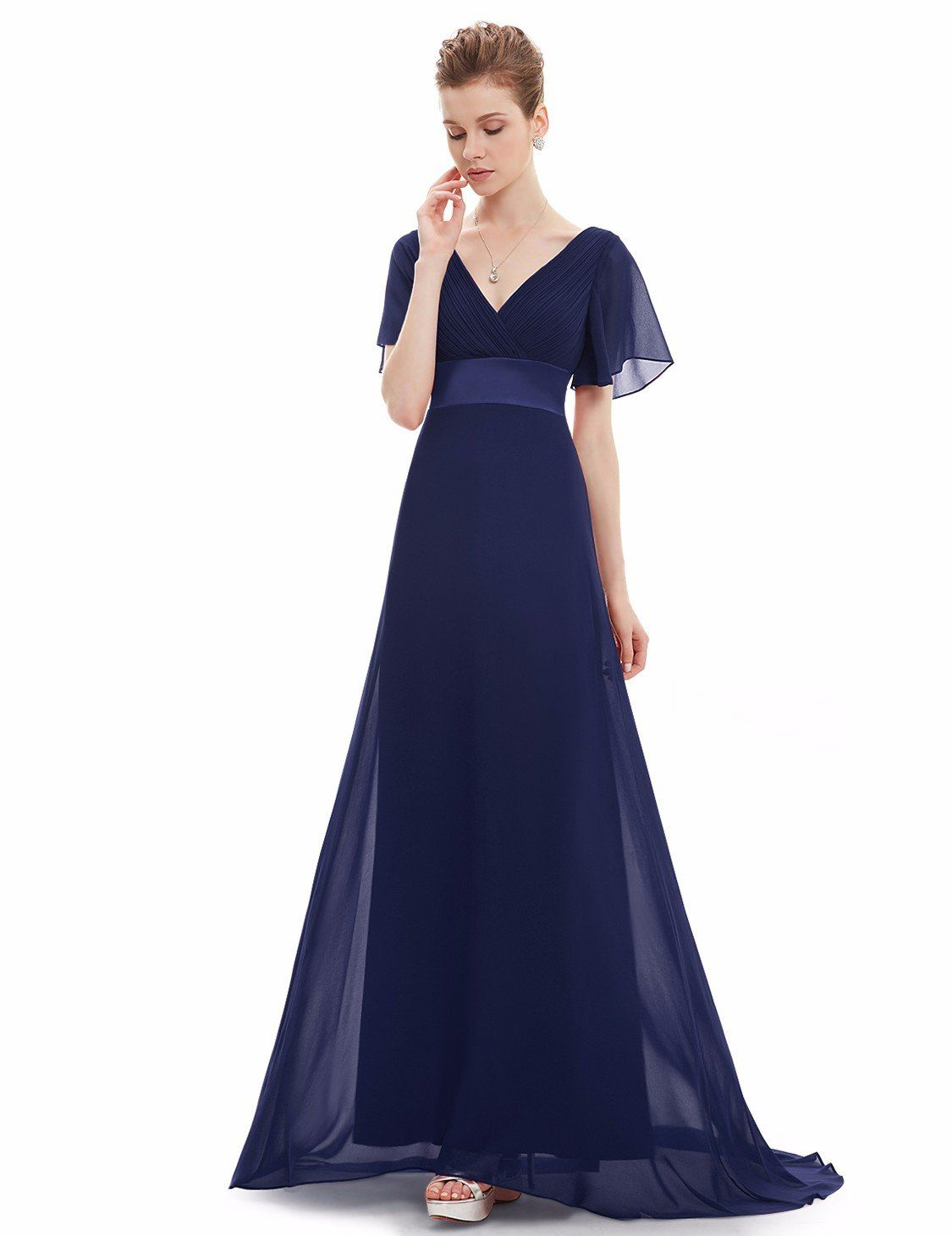 86a0e07571c EverPretty Womens Flutter Sleeve Chiffon Long Bridesmaids Dress 16 US Navy  Blue   Find out more at the image web link. (This is an affiliate link).