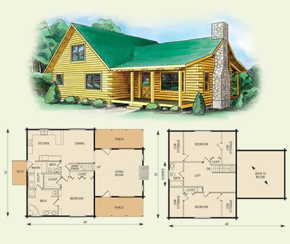 carolina log home and log cabin floor plan 3 bed room, fireplace, 2 ...
