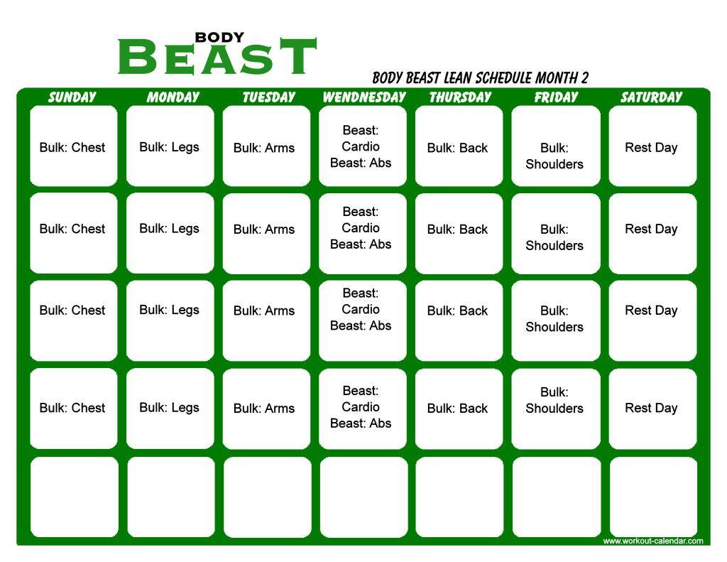 Body Beast Workout Schedule