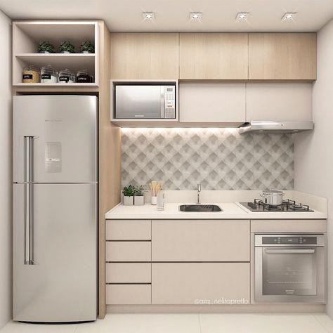 Cozinha pequena, mas com espaço bem aproveitado sem deixar ...