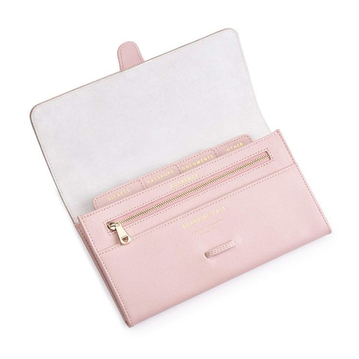 Classic Travel Wallet in Peony Saffiano