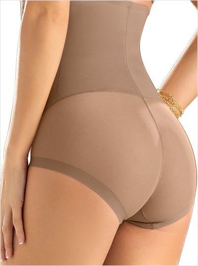 Mujeres Cintura Alta Beige G String Tanga Invisible Tummy Control bragas Shapewear