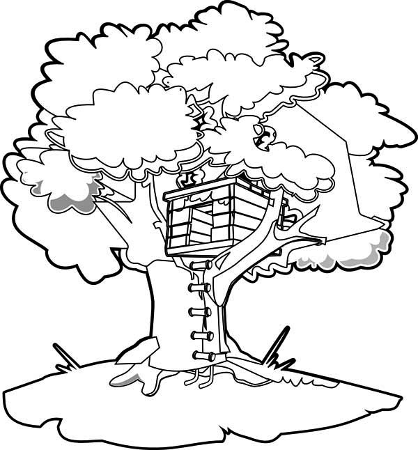 How To Draw A Treehouse Coloring Page Color Luna In 2020 Magic Treehouse House Colouring Pages Magic Tree House Activities